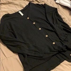 Black Waffle Button Down Tie Sweater